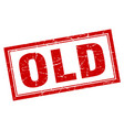 Old red square grunge stamp on white vector image