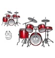 Red drum kit cartoon character vector image vector image
