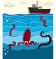 Giant octopus and fishing boat vector image vector image