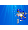 Cartoon Dolphin wearing captain uniform swimming i vector image