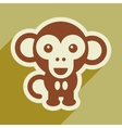 flat icon with long shadow happy monkey vector image