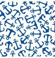 Blue marine anchors seamless pattern vector image