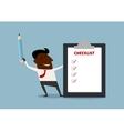 Happy businessman completing a checklist vector image