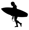 surfer girl silhouette vector image vector image