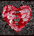 cartoon cute doodles valentines day heart vector image