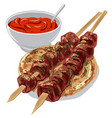 kebabs with sauce vector image vector image