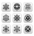 Snowflakes buttons set on black and white vector image vector image