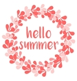 Hello summer wreath card isolated on white vector image