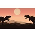 Silhouette of tyrannosaurus with sun vector image