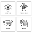 Honey bees honeycomb logos template set vector image
