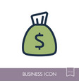 money bag outline icon finances sign vector image