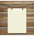 template white bumani hanging on clothespins vector image