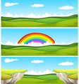 Three nature scene with field and cliff vector image