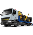 Flatbed recovery vehicle with telescopic handler vector image vector image