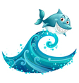 Shark Ridding Wave vector image vector image
