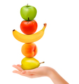 Group of fresh fruit with hand Dieting concept vector image