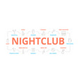 night club thin line banner for design vector image
