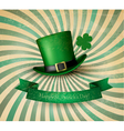 Saint Patricks Day card with clove leaf and green vector image