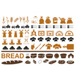 Production of bread icons on white vector image