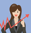Business woman pointing at growth graph vector image