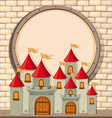 Border design with castle towers vector image