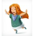 Happy girl dance with joy vector image