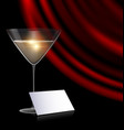 games card glass and red drape vector image vector image