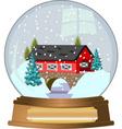 covered bridge snow globe vector image