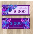 Gift certificate card template with peacock vector image