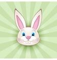 Cartoon bunny head on green vector image