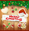 christmas background with hat and text vector image