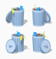 Low poly trash can vector image