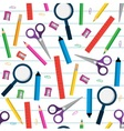 seamless pattern with stationery items vector image