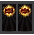 Set of vertical banners with glowing lamps for vector image