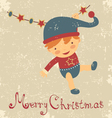 Vintage baby christmas card vector image vector image