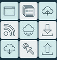 set of 9 world wide web icons includes program vector image