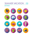 diving flat icon set summer vacation vector image