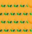 seamless pattern with peach fruits in flat style vector image