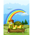 A happy turtle above the log and the rainbow in vector image