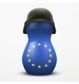Russian matrioshka in military helmets and EU flag vector image