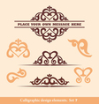 set calligraphic design vector image vector image