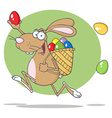 Brown Easter Rabbit Running With A Basket And Egg vector image