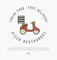 concept of fast delivery of pizza thin line bike vector image