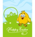 Easter card with decorated eggs and cute chicken vector image