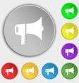 megaphone icon sign Symbol on eight flat buttons vector image