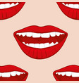 Red smiling womans lips seamless pattern vector image