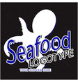 seafood logotype squid black background ima vector image