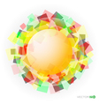 yellow translucent sphere with colored squares vector image