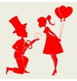 The silhouette is adorableloving couple vector image