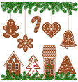 set of decorated gingerbread figures vector image